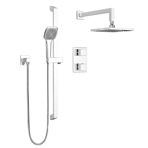 Square Faucet Shower Head, Complete Shower System, Thermostatic - Grab-Bar.com