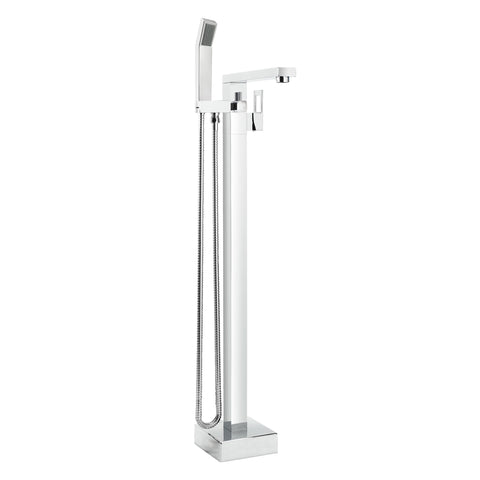 Floor Mount Bathtub Filler, Square, Polished Chrome - Grab-Bar.com