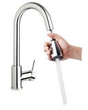 High Arc Kitchen Sink Faucet with Pull-Down Swivel Spout, Pause Button, Push-Button Diverter - Grab-Bar.com