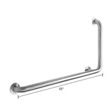 Left Handed Corner Grab Bar With Safety Grip - Grab-Bar.com