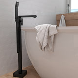 Floor Mount Bathtub Filler, Square, Matte Black - Grab-Bar.com