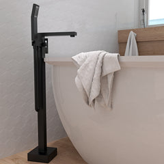 Floor Mount Bathtub Filler, Square, Matte Black
