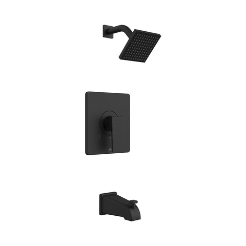 Belanger Bathtub Spout and Square Showerhead with 1-Handle, Black Matte - Grab-Bar.com