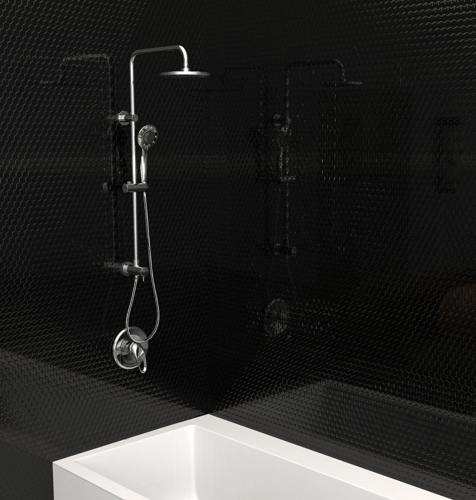 Retrofit model - Slide Bar Mounted Hand and Fixed Shower Head Kit - Grab-Bar.com