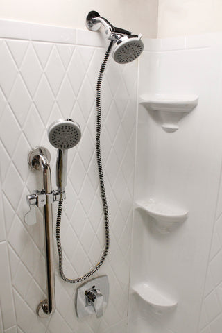 Deluxe Grab Bar Slide Rail Shower Kit, Polished Chrome - Grab-Bar.com