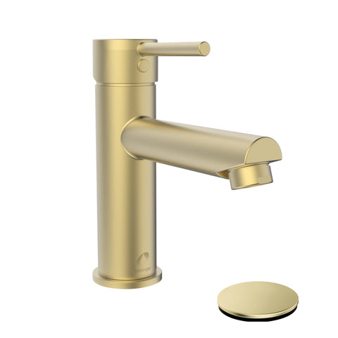 Belanger Single Handle Bathroom Faucet with Drain, Matte Gold