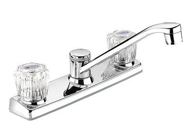 "Low Arc Kitchen Faucet with 8"" Swivel Spout and Knob Controls - Grab-Bar.com"