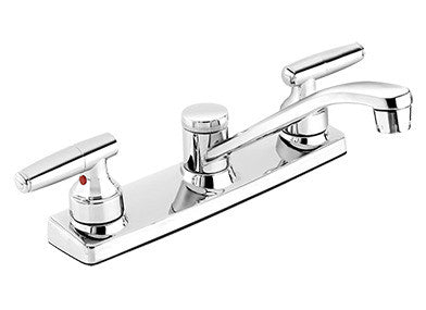 "Low Arc Kitchen Sink Faucet with 8"" Swivel Spout and Handle Controls - Grab-Bar.com"