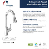 Belanger Single Handle Pull-Down Kitchen Faucet, Polished Chrome