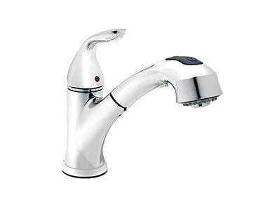 Belanger Polished Chrome Kitchen Sink Faucet with Swivel Pull-Out Spout - Grab-Bar.com