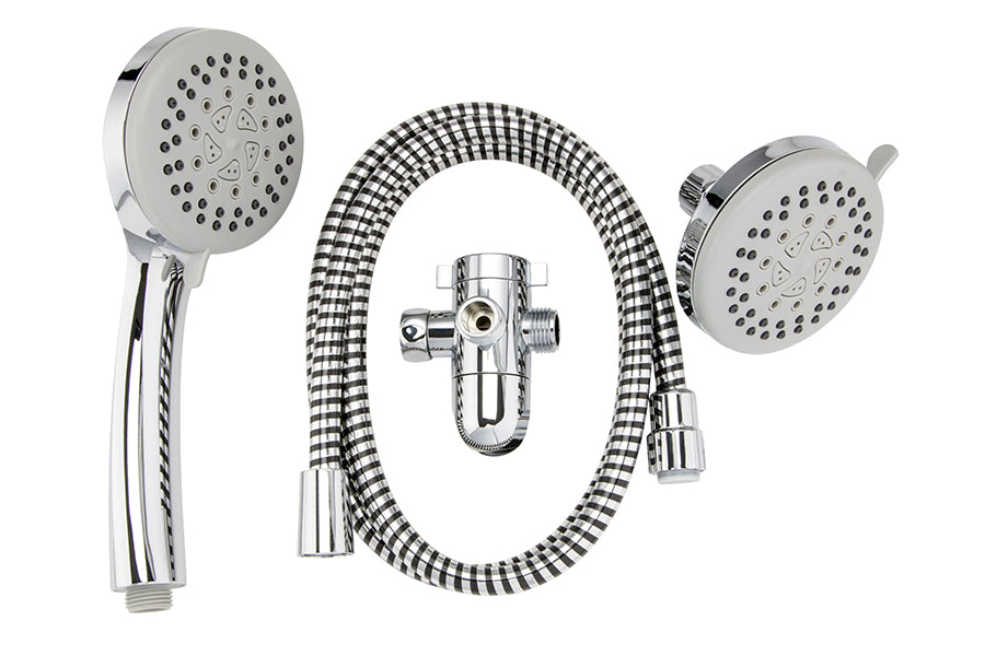 5 Function: 3 Way Shower Head Kit, Polished Chrome - Grab-Bar.com