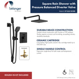 Square Shower Faucet with Pressure Balanced Diverter Valve, Matte Black