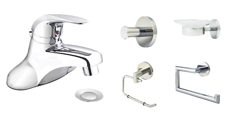 Bathroom Starter Kit with Bathroom Faucet with Single Handle (Polished Chrome) - Grab-Bar.com