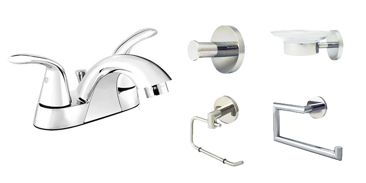 Bathroom Starter Kit with Bathroom Faucet with Lever Controls (Polished Chrome) - Grab-Bar.com
