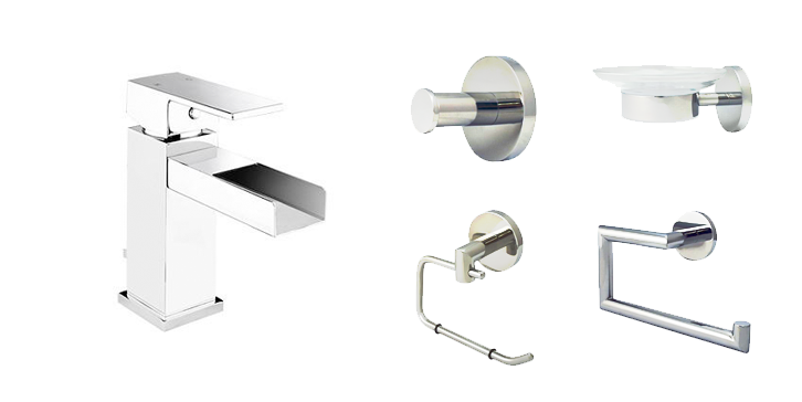 Bathroom Starter Kit with Waterfall Style Bathroom Faucet with Visible Stream (Polished Chrome) - Grab-Bar.com