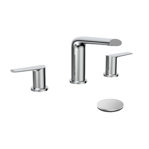 Belanger Two-Handle Widespread Bathroom Faucet with Drain Assembly, Polished Chrome