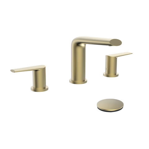 Belanger Two-Handle Widespread Bathroom Faucet with Drain Assembly, Matte Gold