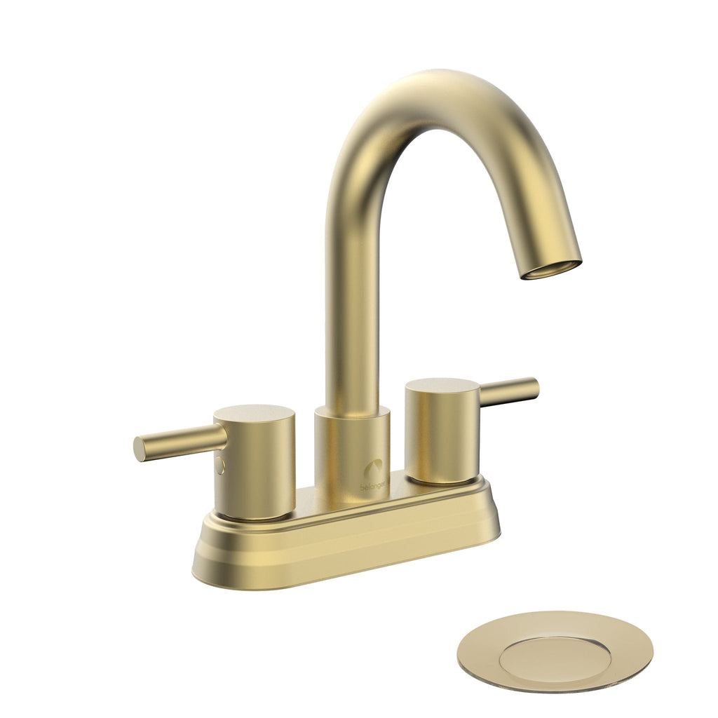 Belanger Dual Handle Bathroom Faucet with Pop-Up Drain, Matte Gold