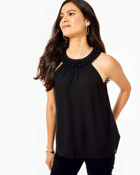 Shawn Beaded Halter Top - Onyx-Lilly Pulitzer