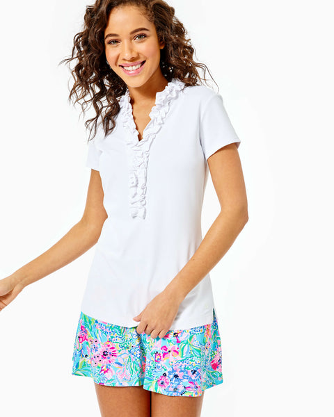 Frida Ruffle Polo Upf 50+ Resort White-Lilly Pulitzer