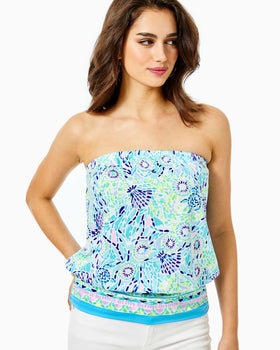 Adella Tube Top - Blue Ibiza Open Water Engineered Top-Lilly Pulitzer
