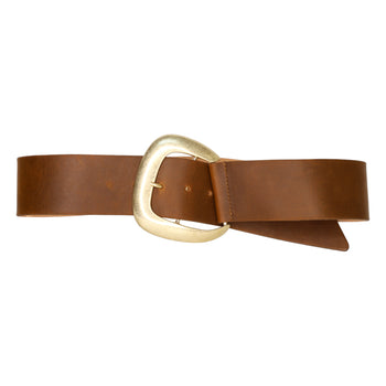 Cognac Belt with Light Gold Buckle-Streets Ahead
