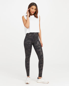 Spanx Faux leather Camo leggings - Matte Black-Spanx