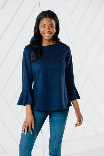 Faux Suede Flutter Sleeve top - Navy-Sail to Sable
