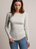 Everyday Ribbed Crew - Beige-Minnie Rose