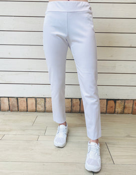 Pull-On Ankle Pant - White Pique-Krazy Larry