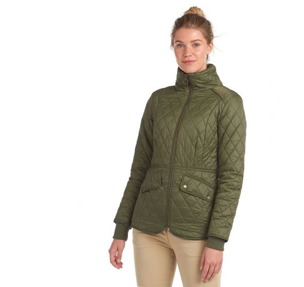 Barbour Hawthorns Quilt, Olive-Green Pink Check-Barbour