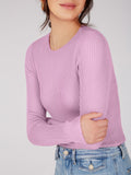 Ribbed knit Crewneck Pullover - Electric Lilac-525 America
