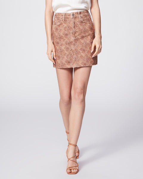 Aideen Skirt with Raw Hem- Bronze Viper-PAIGE
