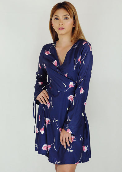 Navy Blue Floral Longsleeves Wrap Dress