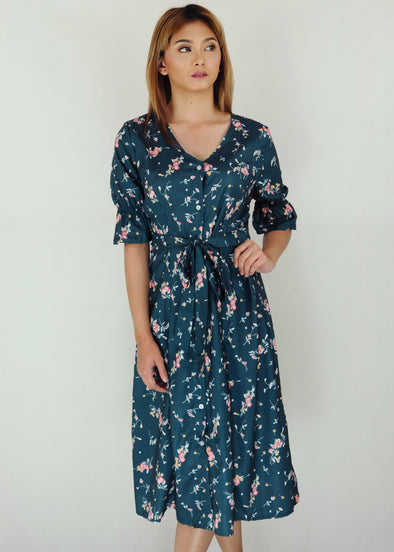 Navy Green Floral Button Down Midi Dress