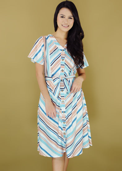 Winona Dress Mixed Stripes Button Down V-Neck A-line Dress