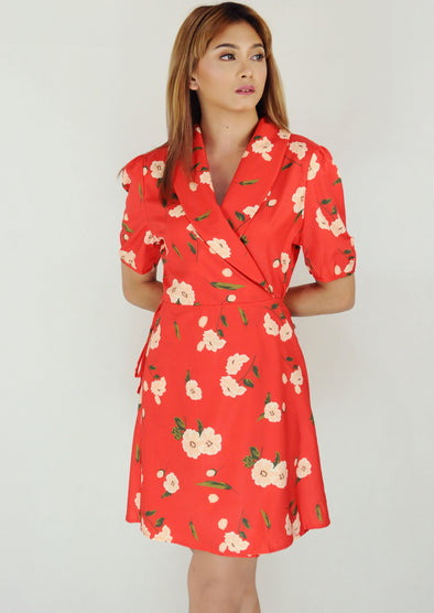 Red V-Neck Collar Floral Wrap Dress