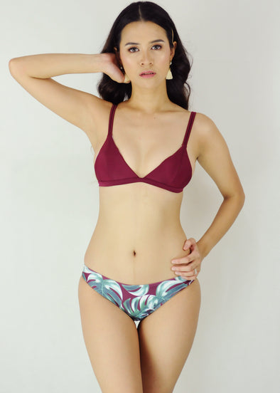 Candice Two Piece Swimwear - Maroon Palmy Spaghetti Bikini Swimwear Swimsuit