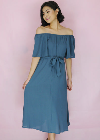 Zeshan Dress - Blue Green Off Shoulder A-Line Midi Dress