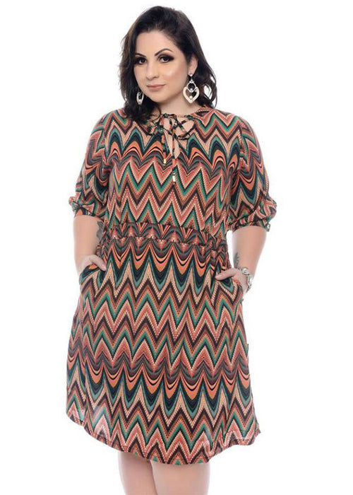 Mixed Geometric Drawstring A-Line Dress