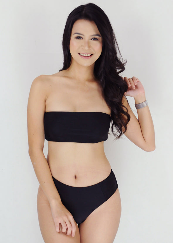 Ellie Two Piece Swimwear - Black Tube Bandeau High Waist Bikini Swimwear Swimsuit