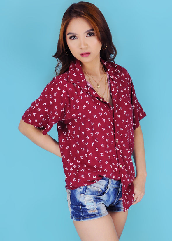 Clarissa Top - Maroon Leaves Button Down Collar Sleeves Top