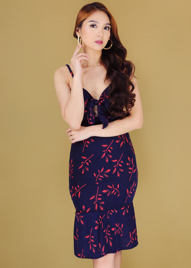 Jayla Dress Navy Blue Leaves Front knot Spaghetti Bodycon Dress