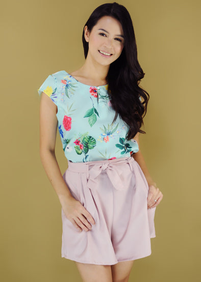 Brittany Terno Floral Top Self Tie Pink Shorts