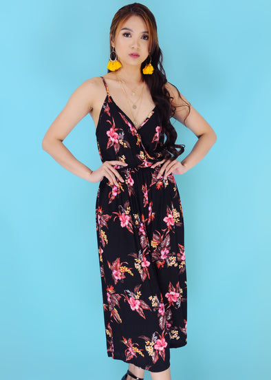 Leslie Black Spaghetti Plunge V-Neck Tropical Jumpsuit