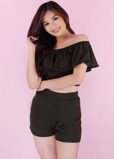 Cyra Terno - Green Off Shoulder Layered Top with Shorts