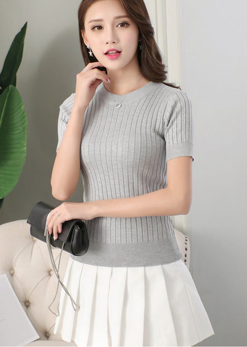 Gray Ribbed Sleeves Top