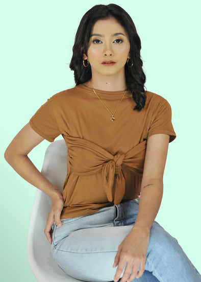 ZEALO Lexis Brown Sleeves Tie Knot Front Shirt Top