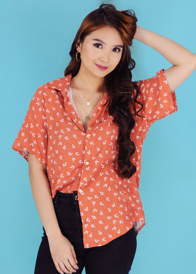 Clarissa Top - Peach Leaves Button Down Collar Sleeves Top