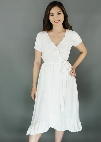 Zelma Dress - White V-Neck Self Tie Maxi Dress